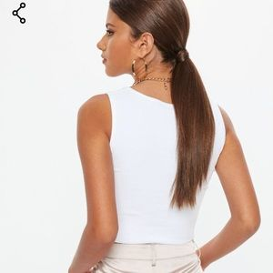 b1863aa631df37 Missguided Tops | White Notch Neck Sleeveless Crop Top | Poshmark